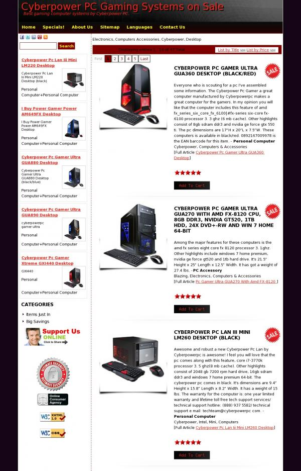 Cyberpower PC Gaming Systems on Sale